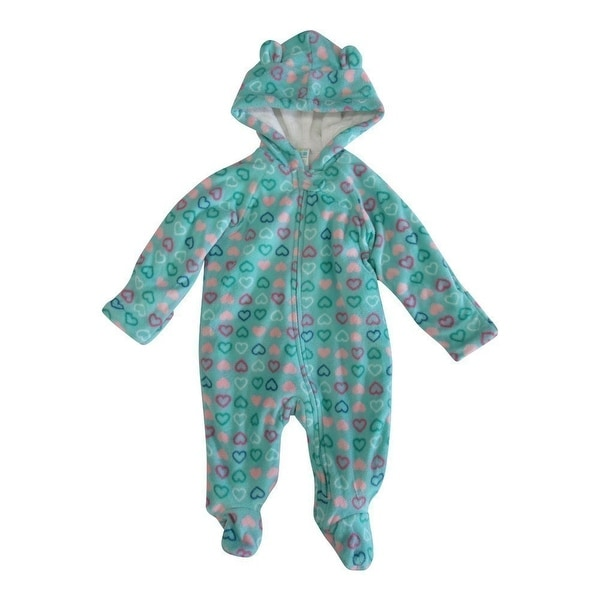 Healthtex Baby Girls Mint Aqua Heart Pattern Full Body Hooded Bodysuit