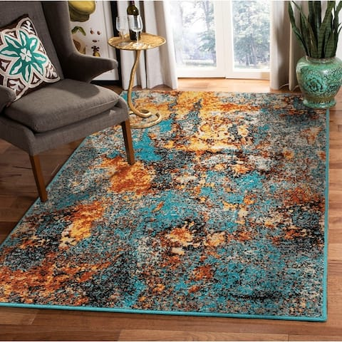 LoomBloom Persian Polypropylene Autumn Modern & Contemporary Oriental Area Rug Turquoise, Apricot Color