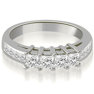 1.35 CT.TW Channel Set Princess and Round Cut Diamond Wedding Band - White H-I