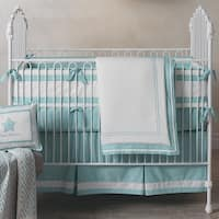 Lambs & Ivy Classic Aqua Blue/White Cotton Nursery 3-Piece Baby Crib Bedding Set