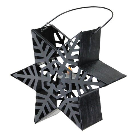 "9.5"" Alpine Chic Distressed Style Black Snowflake Star Design Tea Light Candle Holder Lantern"