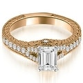1.00 cttw. 14K Rose Gold Antique Emerald Cut Diamond Engagement Ring - Thumbnail 0