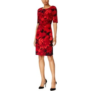 Connected Apparel Womens Petites Wear to Work Dress Ruched Floral Printed