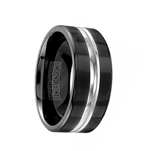 SHULK Torque Black Cobalt Wedding Band Brushed Finish Center Accent Polished Edges by Crown Ring - 9 mm