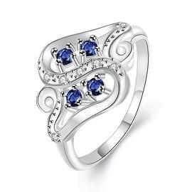 Quad-Petite Mock Sapphire Swirl Design Ring