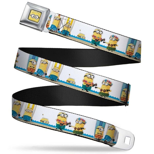 Minion Dave Face Close Up Full Color Minion Beach Party Scene Webbing Seatbelt Belt