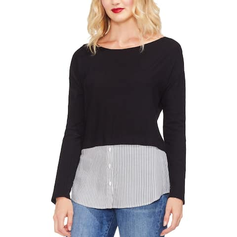 Vince Camuto Womens Pullover Top Mixed Media Striped Hem