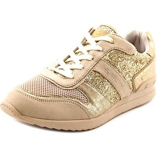 G By Guess fax Women Round Toe Canvas Gold Sneakers