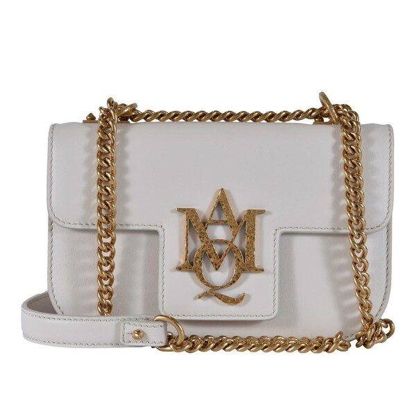 77adee36d2 Alexander Mcqueen 469035 Calf Leather Chain Insignia Purse Bag - Off White