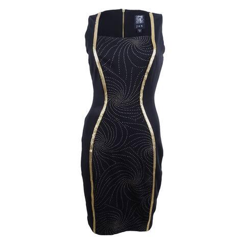 JAX Women's Metallic-Trim Sheath Dress - Black