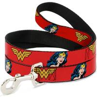 Dog Leash - Wonder Woman Logo Face Repeat Red