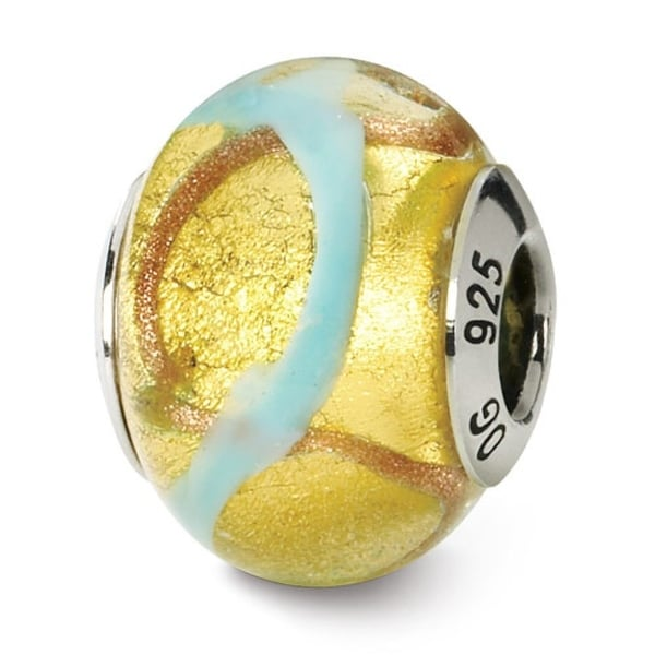 Italian Sterling Silver Reflections Yellowith Gold/Blue Murano Bead (4mm Diameter Hole)