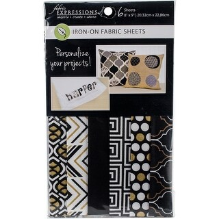 """Fabric Editions Fusible Sheets 8""""X9"""" 6/Pkg-Black & Gold"""