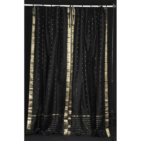 Black Tie Top Sheer Sari Curtain / Drape / Panel - Pair