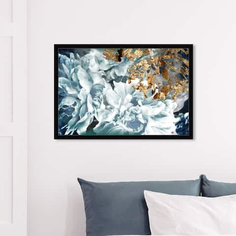 Oliver Gal 'Dos Gardenias Light Turquoise' Floral and Botanical Framed Wall Art Prints Florals - Blue, White