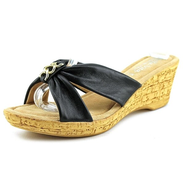 Bella Vita Aquila Women N/S Open Toe Leather Black Wedge Sandal