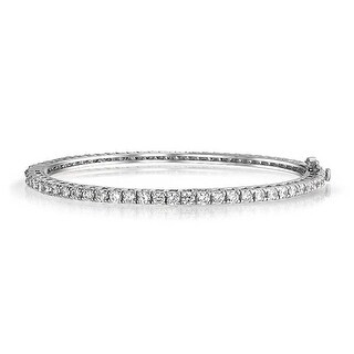Bling Jewelry Round Clear CZ Bridal Bangle Bracelet Rhodium Plated