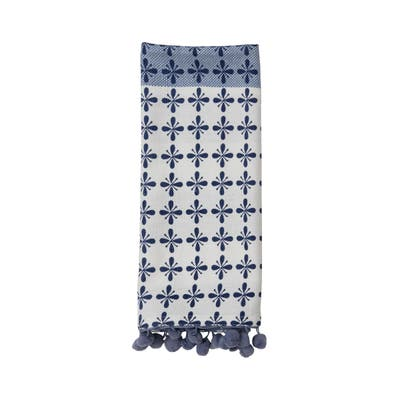 Foreside Home & Garden Blue Striped 27 x 18 Inch Woven Cotton Kitchen Tea Towel with Hand Sewn Pom Poms