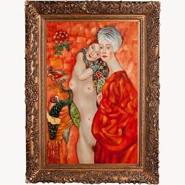 Girl Friends by Gustav Klimt Framed Hand Painted Oil on Canvas