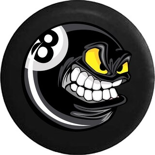 Spare Tire Cover Cartoon Angry Pool Ball Billiards 8 Ball