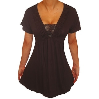 Link to Funfash Plus Size Black Lace Empire Waist Slimming Womens Top Shirt Similar Items in Tops