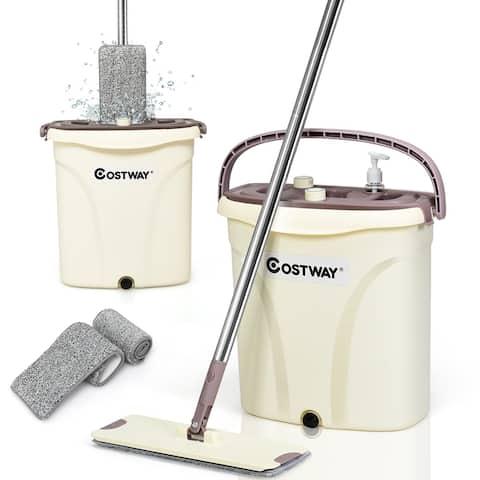 Costway Flat Squeeze Mop Bucket 2 Pcs Microfiber Pad Hand-Free