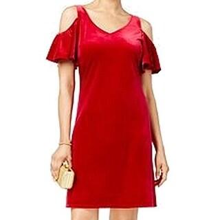 MSK NEW Red Womens Size 10 V-Neck Cold-Shoulder Velvet Sheath Dress