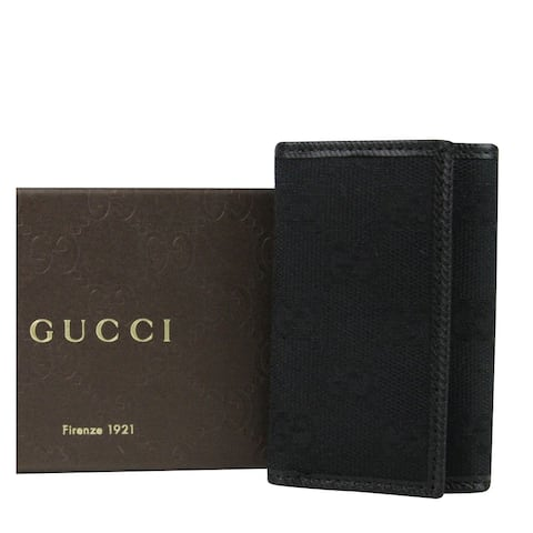 Gucci Unisex Trifold Black GG Canvas Key Chain Ring Holder 04564R 1000 - One size