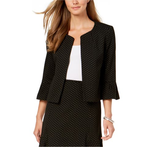 Nine West Womens Flounce Sleeve Jacket, Black, 4