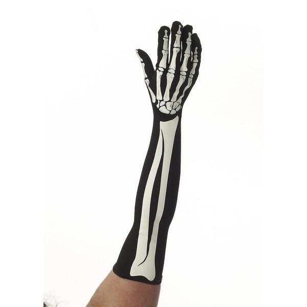Skeleton Bones Adult Costume Long Gloves - Black