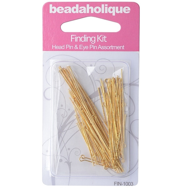 Gold Plated Findings Kit - Assorted Head Pins And Eye Pins 1-3 22 Gauge (90)