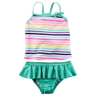 c2eff049e2ebe Shop Carter's Little Girls' Striped Ruffle Rainbow Tankini Set 5 Turquoise  - Free Shipping On Orders Over $45 - Overstock - 28480704