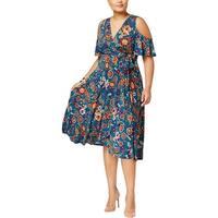 Soprano Womens Plus Midi Dress Floral Print Cold Shoulder