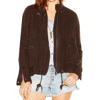 Free People Womens Juniors Jacket Linen Blend Long Sleeves