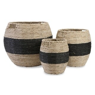 """Set of 3 Darren Earth-Friendly Global Woven Black-Banded Baskets with Handles 14.5"""""""