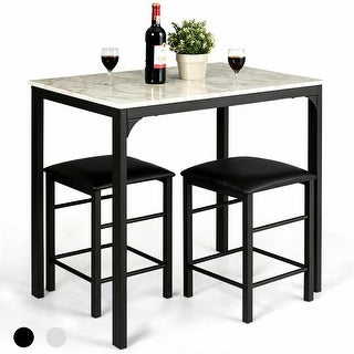 3 Piece Counter Height Dining Set Faux Marble Table 2 Chairs Kitchen