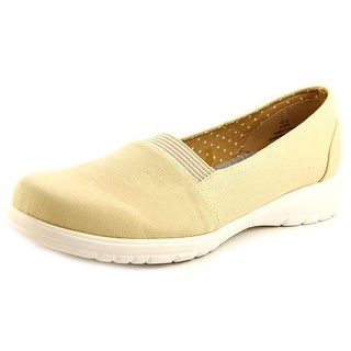 Beacon Jamie Gored Women Round Toe Canvas Nude Loafer