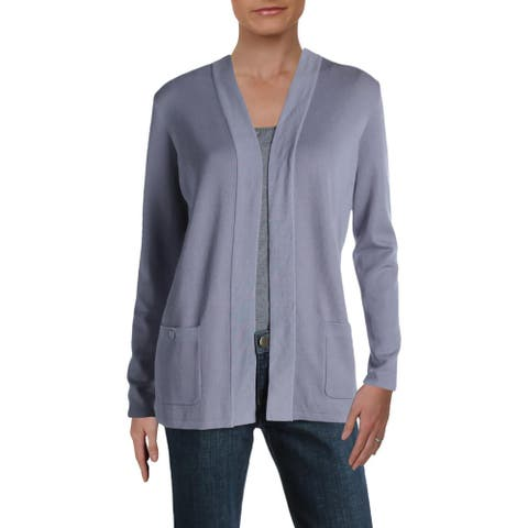 Anne Klein Womens Cardigan Sweater Knit Office - Summit Blue - S