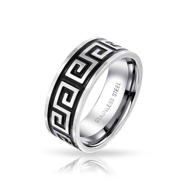 36d6ef00df Mens Geometric Greek Key Black Flat Wedding Band Ring For Men For Women  Black Silver Tone