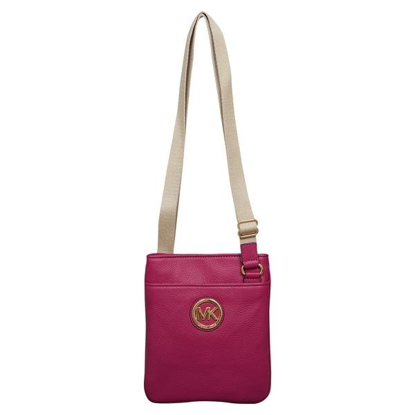 915ce3808ed0 Shop Michael Kors Fulton Deep Pink Leather Crossbody Handbag - Free  Shipping Today - Overstock - 22703342