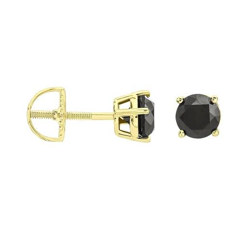 Prism Jewel Round Brilliant Cut Prong Set Black Diamond Screw Back Stud Earring