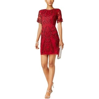 Adrianna Papell Womens Petites Cocktail Dress Sequined Special Occasion