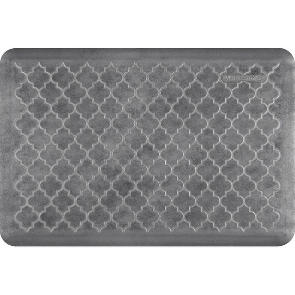 "WellnessMats Estates Trellis Anti-Fatigue Office, Bathroom, & Kitchen Mat, Slate, 36"" by 24"""