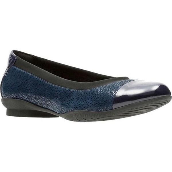 2fa90862015e Clarks Women  x27 s Neenah Garden Cap Toe Ballet Flat Navy Nubuck Patent