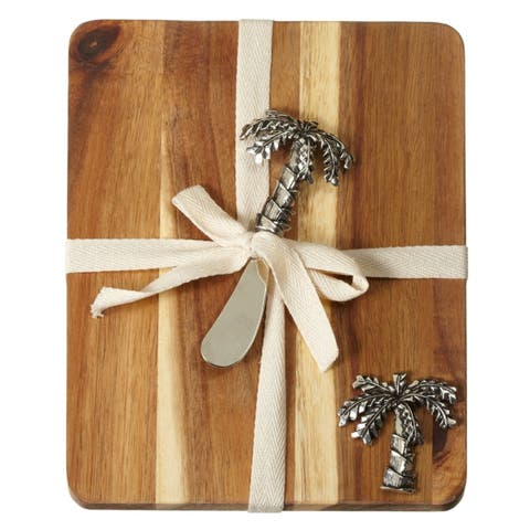 Palm Tree Cheese Board and Matching Spreader Set Acacia Wood