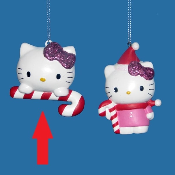 """3"""" Hello Kitty Head with Candy Cane Decorative Christmas Ornament"""