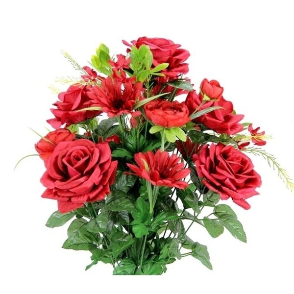Admired by Nature GPB6428-RED Faux Rose G.Daisy Ranunculus Mixed Flower Bush Red