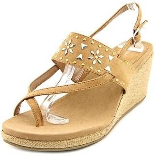 Style & Co Jazzmin Women  Open Toe Canvas Brown Wedge Sandal