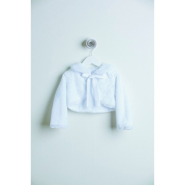 Little Girls White Faux Fur Ribbon Long Sleeve Occasion Jacket 12M