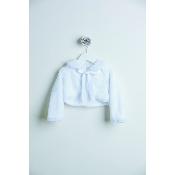 Little Girls White Faux Fur Ribbon Long Sleeve Occasion Jacket 24M